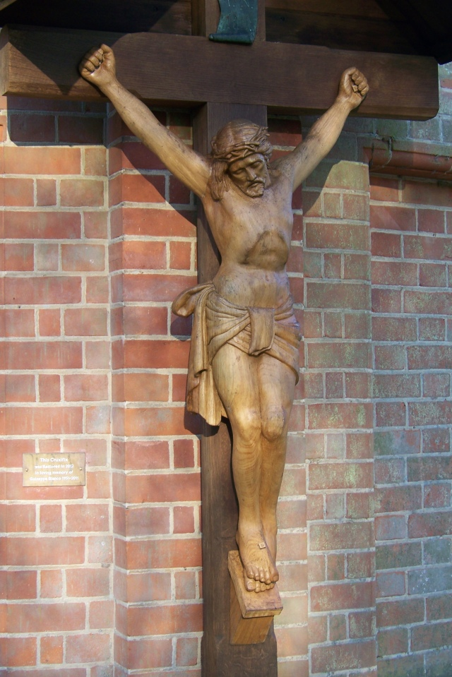 The 2012 wooden crucifix: made of English oak