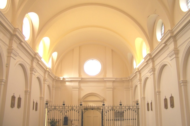 """A""""priest's eye"""" view of the interior of the church, at the altar rail."""