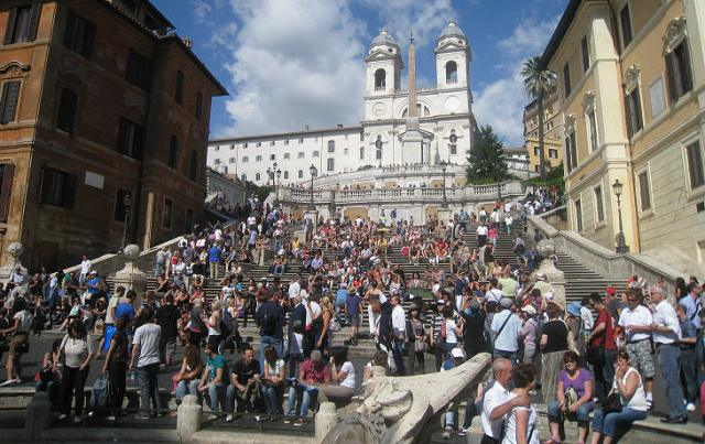 A view of the church of the Santissima Trinità dei Monti from the bottom of the Spanish Steps