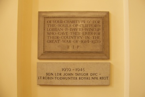 Our war memorial plaques, commemorating the fallen from both World Wars.